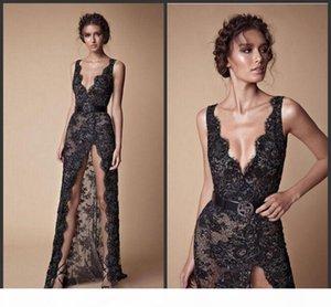 2019 New Modest Fashion V-neck Sexy Full length Berta Evening Occasion Dress Black Lace Beaded Split Prom Pageant Dresses Vestido De Noiva