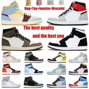 Jumpman أحذية كرة السلة 1 1s عالية أعلى هوك شيكاغو موتشا جامعة بلو باختصار، مساعدة سبج الرجال والنساء مع أعلى جودة 36-46 حجم حزام كامل الحجم