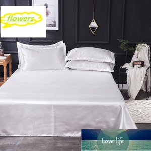 Sheets & Sets SRF 1PCS Flat Sheet 100% Satin Silk Fabric Luxury Bedding Linen European Style Silky Double Queen King Size Home Textiles