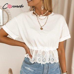 Casual White Drawstring Waistband T shirt Ruffled O-neck Short Sleeve Tee Tops Cotton Elegant Holiday Top Shirts Summer Women's