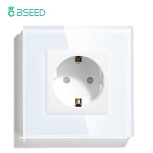 BSEED Single EU Standard Crystal Glass Panel 16A Double Wall Power Outlet Triple Socket
