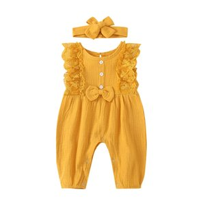 Summer Ins Infant Baby Girls Sleeveless Cute Rompers Jumpsuits Bowknot Headband 2pcs Kids Set Children Outfits Clothing Suits