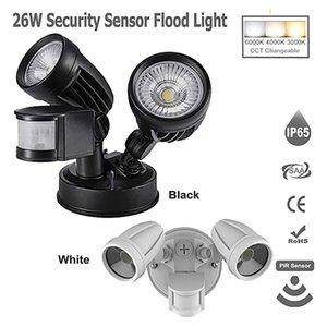 26W LED Twin PIR Security Sensor Floodlight AC85265V 3000lm Outdoor IP65 Spotlight Reflectores Para Patio Wall Light for Garden