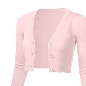 Women Sweaters 3 4 Sleeve Cropped Short Cardigans Sweater Solid Casual Button Down Long Coat Autumn Winter Knit Tops Pull