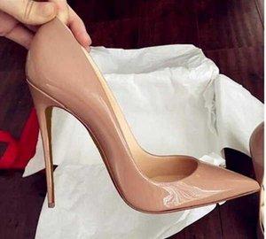 Высочайшее качество 2018 женская обувь красные дна высокие каблуки сексуальные заостренные носки красная подошва 8 см 10 см 12 см насосы свадебные одежды обувь обнаженные черные блестящие 688