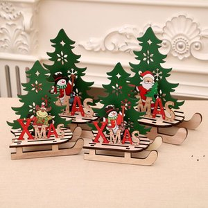 Christmas decorations creative color painting wooden pendant assembly sled car ornaments puzzle gift OWF10439