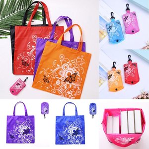 Shopping Bags Foldable Bag Butterfly Flower Shoulder Portable Eco-Friendly Grocery Reusable Tote Ladies Handle With Hook