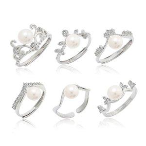 J813 Nouvelle Mode Populaire Pearl Bague Ouverture Creative Zircon 925 Silver Main Bijoux