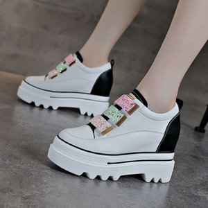 Yükseklik Artan Astarı Bayan Ayakkabı 2020 Sonbahar Yeni Rahat Gerçek Yumuşak Deri Internet Sıcak Beyaz Ayakkabı Bayan Platformu Muffin Sığ Ağız