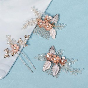 Hair Clips & Barrettes Beautiful 3pcs set Wedding Accessories Pearl Flower Haircomb For Bridesmaid Women Crystal Head Jewelery Trendy 2021