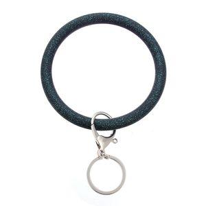 Round Bracelet Bangle Silicone Key Ring Glitter Bracelet Wristband Keychain Hand Chain Jewelry Car Keyrings Holder Bag Charms 627 K2