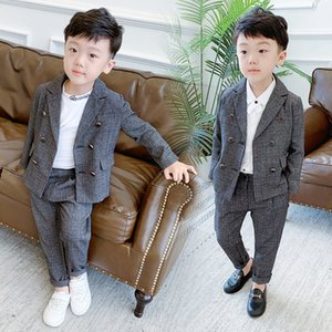 Autumn Winter Children Formal Suit Sets Boys Plaid Double breasted Blazer Pants 2pcs Clothing Sets Kids Wedding Party Costume