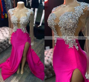 2022 Sexy Long Sleeves Evening Pageant Dresses Crystyal Beads Side Split Sheath Prom Special Occasion Dress Plus Size