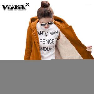 2020 Autumn Winter Women's Fleece Jacket Coats Female Long Hooded Coats Outerwear Warm Thick Female Red Slim Fit Hoodies Jackets1