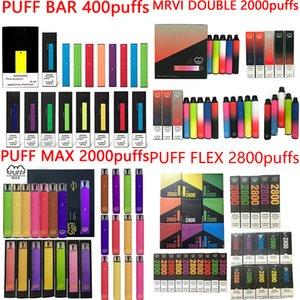 Puff Bar Max Max Double Flex Одноразовые Vape Pen E Cigarette устройство с Pods Предварительно заполненные 400 1500 2000 2800Установок Puffbar Kit VS Air Bar Lux