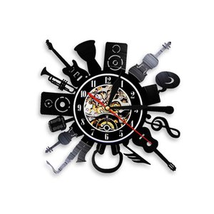 Music Band Instruments Themed Wall Clock Vinyl Record Music Sound Guitar Trumpet Silent Sweep Watch Decorative Bedroom