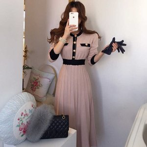 Autumn Korean Elegant Knitted Dresses Women Slim A-line High Waist Pleated Dress Female 2021 Gentle Lady Long sweater Base Dress G1011