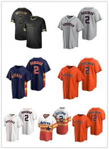 2021 NKE Houston Бейсбол Джерси Астро 2 Алекс Брегман Мужчины Женщины Молодежь Черный Через Альтернативный Сшитый Пользовательский номер Оставьте номер