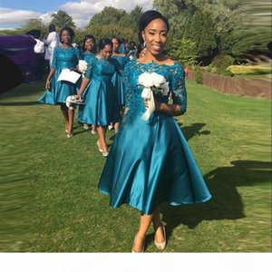 Modern 2019 Short Bridesmaid Dresses For Weddings Teal Satin Lace Half Sleeves Tea Length Plus Size Formal Gowns Custom Made