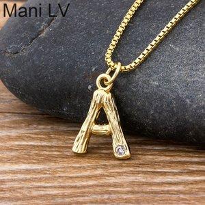 Moda di piccola taglia oro martellato in metallo in metallo di bambù 26 lettera alfabeto A-Z minimalista iniziale collana pendente della collana twist chain gioielli