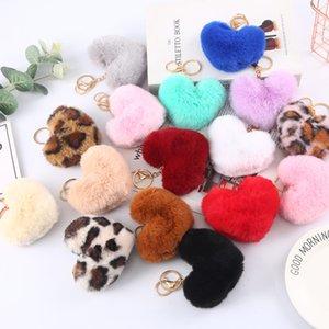 Women Leopard Pompoms Key Ring Fashion Fluffy Heart Love Keychain jewelry Faux Rabbit Fur Plush Keyfobs Holder Party Gifts Kimter-P155FA
