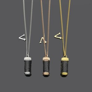 Europe America Style Men Lady Women Titanium steel Lovers Thick Long Necklace Sweater Chain With Wrap Leather Perfume Bottle Charm 3 Color