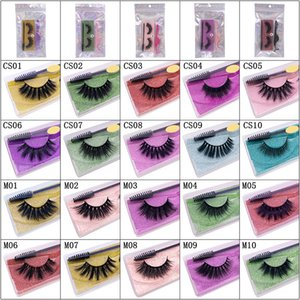 3D false eyelashe 1 pair of color suit thick eyelashes plastic tweezers eyelash brush opp Bag epacket ship