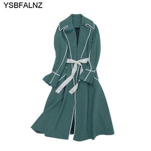 Autunno Fashion Womens Trench Cappotti Inghilterra Stile Manica Lunga Risvolto Elegante Belt Solid Belt Belt Vintage Slim Fodera Vestiti Donne