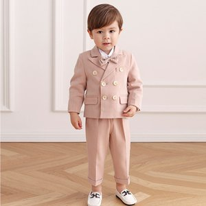 Pink Boys Suits for Weddings Kids Blazer Suit for Boy Costume Infant Blazer Boys Tuxedo Baby Boy Clothing Sets Coat+Pant+bow 3Ps