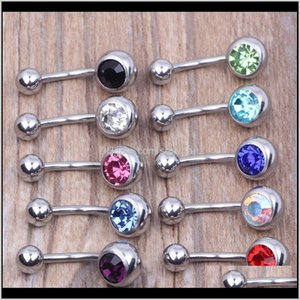 & Bell Rings Body Jewelry Drop Delivery 2021 316L Surgical Steel Single Crystal Rhinestone Belly Button Navel Bar Ring Piercing 50Pcs Lot Y8C