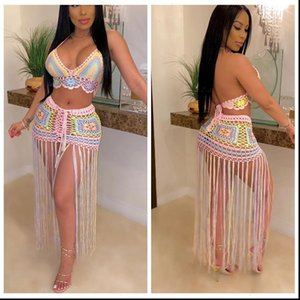 crochet Womens Dresses Knitted beach dress sexy women crop top long skirts bikini swimwear cover up Robe De Plage 2PCS
