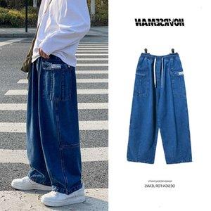 Jeanswhite Pipe Jeans Gentlemen 2021 Herf Cuaresma Big Bolsets Hip Hop Streetwear Losse Straight Baggy Denim Broek Male M-5XL