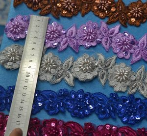 13yards Colors 3D Lace Flower Trim with beads Embroidery Embellishment Lace Wedding Ribbon DIY Applique Sewing Craft 5cm width