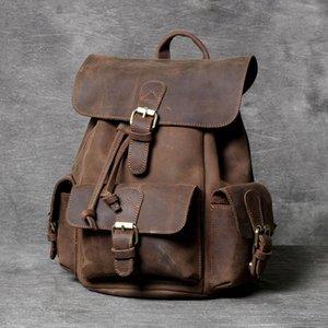 Brand Vintage Genuine Leather Backpack Men Women Classic Mini Schoolbag Preppy Style Daypack