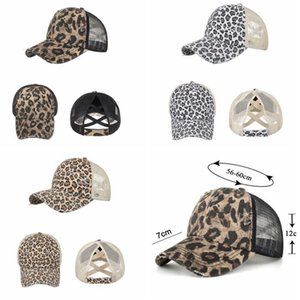 Leopard Ponytail Hats Woman Washed Mesh Criss Cross Baseball Cap Embroidered Messy Bun Hat CYZ3071 30Pcs
