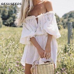 Seksi Mini Elbise Kadınlar Vintage Puf Kollu Elbiseler Yaz Kapalı Omuz Beyaz Sashes Papyon Sevimli Tatil 2021 Casual