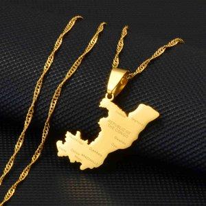 Anniyo Republic of Congo Map & City Name Charm Hanger Chains Brazzaville Ethnic Ornament Sierades Wx175921