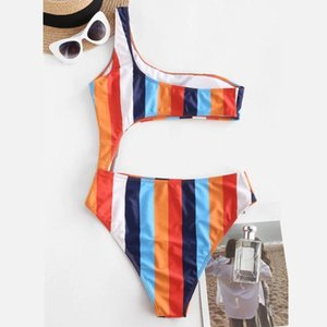 Women Colorful Print One Shoulder Colorblock Striped Cutout One-piece Swimwear Maillot Sexy Biquini 2021 Woman Bikini Mujer One-Pieces