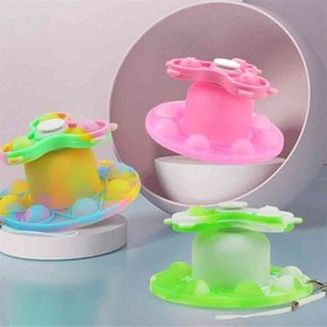 Rainbow Luminous Push Pioneer Silicone Fidget Toys Poppers Bubbles Fingertip Top Adjustable Home LED Night-light Decompression Toy Gifts G95EF0X