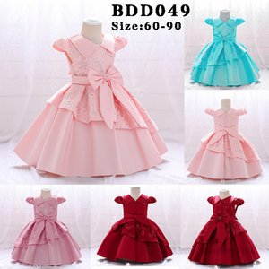 INS Baby girls sequins embroidery dresses Ball Gown toddler kids beaded lapel Bows belt princess dress infant christmas party clothing Q2613