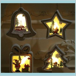 Christmas Decorations Festive & Party Supplies Home Garden 3D Wooden Frame Lighting Pendant Decorative Night Light Table Lamp Holiday