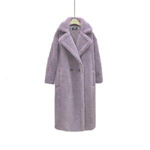 MONMOIRA Pink Long Teddy Coat Women Winter Warm Women Faux Fur Coat Ladies 8 Colors Teddy Jacket Ladies Outdoor Overcoat