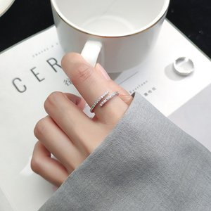 Fashion Cross Diamond Band Ring Personality Design Simplicity Freshness Girlish Heart Zircon Opening Adjustable Jewelry