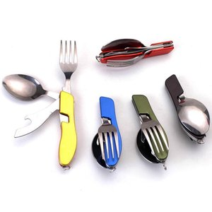 Factory Wholesale Outdoor Folding Combination Tableware Camping Knife Fork Spoon Combination Portable Multi-Function Tableware Set