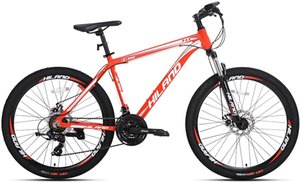 Hiland 26 Inch Mountain Bike for Men with 19.6 Inch Aluminum Gray red
