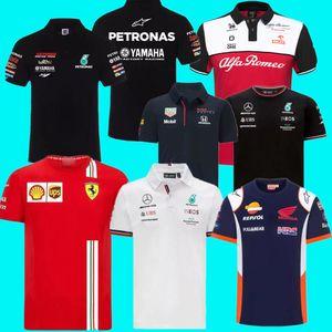 Racing Jackets Wear Top Quality F1 Formula One Team Team Logotipo Fábrica Uniforme Polo de Manga Curta T-shirt Homens podem ser personalizados 2021
