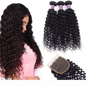 8A Brazilian Human Hair Bundles With Closure Unprocessed Virgin Deep Wave Bundles With Lace Closure Human Hair Weave Remy Hair Extensions