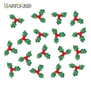 1.4inch Red Berry with Green Leaves Christmas Tree Decoration Supplies DIY Art Fabric Accessories for Home Party Ornaments HA03