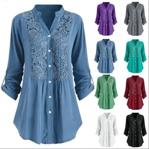 Solid Lace Panel V Neck Womens Blouses Shirt Women Spring Casual Long Sleeve Button up Shirts S 5XL Plus Size