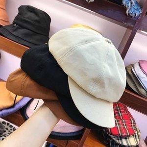 Moda aksesuarları sekizgen kap pamuk erkek ve kadın mizaç bere yaz sonbahar saf renk severler ressam şapka trendi